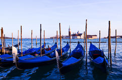 Venice. Row of gondolas in Venice, Italy Royalty Free Stock Photo