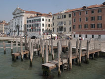 Venice. A row of houses and pier in Venice Stock Image