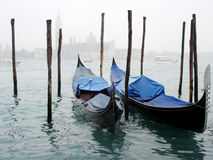 Venice's gondols. Gondola - one of the most popular signs in Italy especially in Venice Royalty Free Stock Images