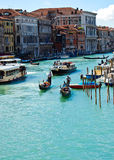Venice 's Grand Canal with Blue sky at Venice in Italy Stock Image