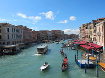 Venice 's Grand Canal for Editorial. It really is grand. The Grand Canal for Editorial with Blue sky at Venice in Italy , Europe Stock Image