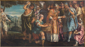 Venice - The Sacrifice of Melchizedek by Parrasio Michieli (1526 - 1578) in church San Francesco della Vigna. VENICE, ITALY - MARCH 14, 2014: The Sacrifice of Royalty Free Stock Image