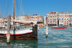 Venice -  Sailboat and the palaces of Canal Grande. Stock Photos