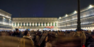 Venice - Saint Marcus. Crowd of people celebrating new year at Saint Marcus place in Venice Royalty Free Stock Image