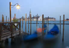 Venice - San Giorgio church and gondolas Stock Photography