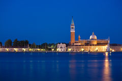 Venice, San Giorgio isle by night stock photography