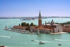 Venice, San Giorgio Maggiore Island aerial view Stock Photos