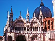 Venice, San Marco basilica facade, blue sky in Italy stock images