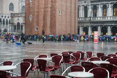 Venice - San marco square in the heavy rain Stock Image
