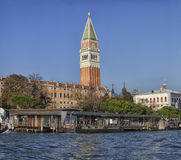 Venice- San Marco Tower. View of San Marco Tower from Canale della Giudecca Stock Images