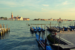 Venice San Marco wharf with tourists Royalty Free Stock Images