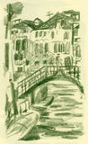 Venice, San Stae. Hand drawn picture of bridge near San Stae,Venice Stock Image