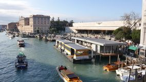 Venice, Santa Lucia The Train station building from the Gran Canal stock footage