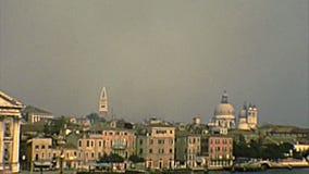 Venice Santa Maria del Rosario church. Santa Maria del Rosario church of Venice with the bell tower, sea view by boat tour. Archival of Venezia city of Italy in stock video