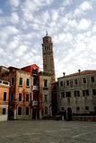Venice - Santa Stefano. A Church with the finest timber ceilings in Venice, and the bell tower has a serious lean on it Royalty Free Stock Images