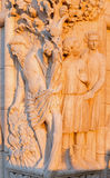 Venice - sculpture from facade of Doge palace in morning Stock Photography