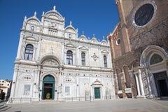 Venice - Scuola Grande di San Marco and partal of Basilica di san Giovanni e Paolo Stock Images