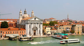 Venice from the sea with church Stock Photo