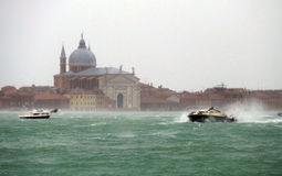 Venice Sea windstorm. Venice, 6 February 2015. After heavy rain and strong wind, the water level rose by over 1 meter. The sea is rough Stock Images