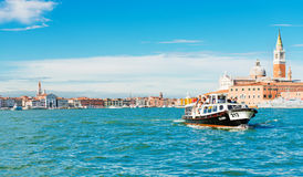 Venice, Ship carrying people in the waters of the San Marco Stock Photos