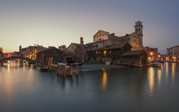 Venice ship yard, canal and bridge scene Royalty Free Stock Image