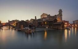 Venice ship yard, canal and bridge scene Royalty Free Stock Image