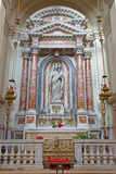 Venice - The side altar by Antonio Rosa with the Madonna of the Rosary (1836) in church Santa Maria del Rosario Royalty Free Stock Photo