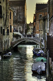 Venice Side Road. One of the streets in Venice - with parked boats, the local vehicle royalty free stock images