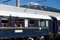 The Venice Simplon-Orient-Express in Central station Innsbruck. Innsbruck Austria APRIL :The legendary 'Orient Express' arrives at station in Venice am on April stock photo