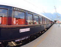 The Venice Simplon-Orient-Express in Innsbruck. Innsbruck Austria MAY 04:The legendary 'Orient Express' arrives at station in Venice at 10:57 am on May 04, 2011 stock photo