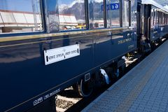 The Venice Simplon-Orient-Express -in Innsbruck. Innsbruck Austria APRIL :The legendary 'Orient Express' arrives at station in Venice am on April 15. 2015 in stock image