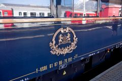 The Venice Simplon-Orient-Express in Innsbruck. Innsbruck Austria APRIL :The legendary 'Orient Express' arrives at station in Venice am on April 15. 2015 in royalty free stock photos