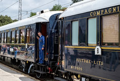Venice Simplon Orient Express. The legendary Venice Simplon Orient Express is ready to depart from Ruse Railway station. The luxury train travels between Paris royalty free stock images