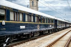 Venice Simplon Orient Express. Ruse city, Bulgaria - August 29, 2017. The legendary Venice Simplon Orient Express is ready to depart from Ruse Railway station in royalty free stock images