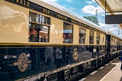 Venice Simplon Orient Express. Ruse city, Bulgaria - August 29, 2017. The legendary Venice Simplon Orient Express is ready to depart from Ruse Railway station in stock photos