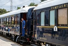 Venice Simplon Orient Express. Ruse city, Bulgaria - August 29, 2017. The legendary Venice Simplon Orient Express is ready to depart from Ruse Railway station in royalty free stock photo
