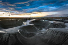 The Venice Skate Park at sunset, in Venice Beach  Stock Photos