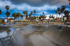 The Venice Skate Park at sunset, in Venice Beach  Royalty Free Stock Photography