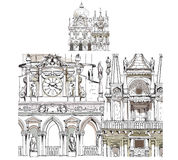 Venice sketch collection, Doge's court,  detailed illustration Stock Image