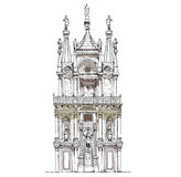 Venice sketch collection, Doge's court  detailed illustration Royalty Free Stock Photography