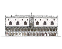 Venice sketch collection, Doge's palace detailed illustration Royalty Free Stock Photography