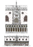 Venice sketch collection, Doge's palace detailed illustration Royalty Free Stock Images