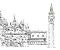 Venice sketch collection, Doge's palace, San Marco and tower Royalty Free Stock Photography