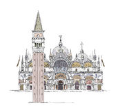 Venice sketch collection, San Marco and Town tower on the square,  detailed illustration Stock Image