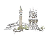 Venice sketch collection, Venice canal illustration Royalty Free Stock Image