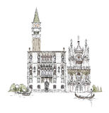 Venice sketch collection, Venice canal illustration Royalty Free Stock Photos