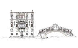 Venice sketch collection, Venice canal illustration Royalty Free Stock Photo