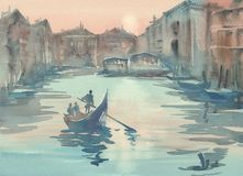 Venice sketch in the morning mist watercolor. Landscape with a gondola stock illustration