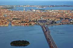 Venice from the sky. An aerial view of Venice - Italy Royalty Free Stock Image