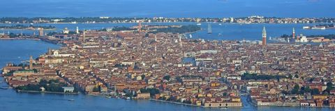 Venice from the sky panorama. An aerial view of Venice - Italy Royalty Free Stock Photos